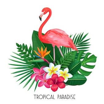 Banner tropical. projeto de verão para publicidade com flamingo, folhas tropicais e flores.