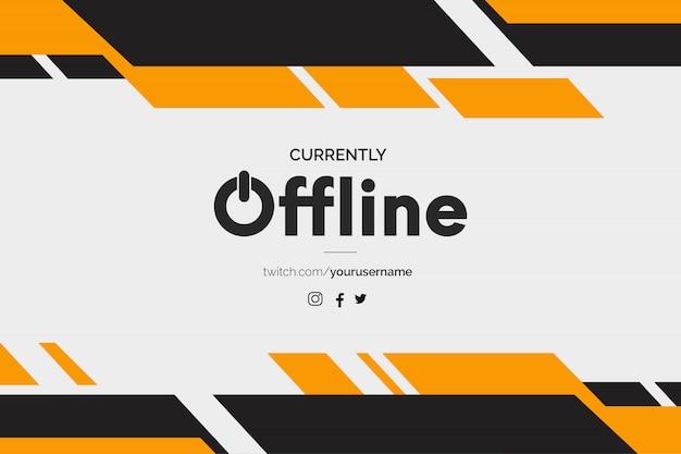 Banner twitch atualmente off-line com formas abstratas