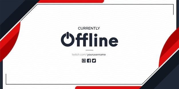 Banner twitch atualmente off-line com fundo abstrato de formas vermelhas