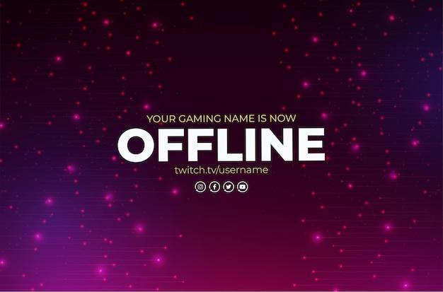 Banner twitch offline com modelo de design abstrato