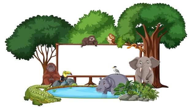 Banner vazio com animais selvagens e árvores da floresta tropical em branco
