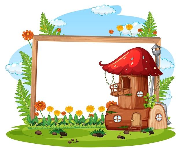 Banner vazio com casa de cogumelo fantasia