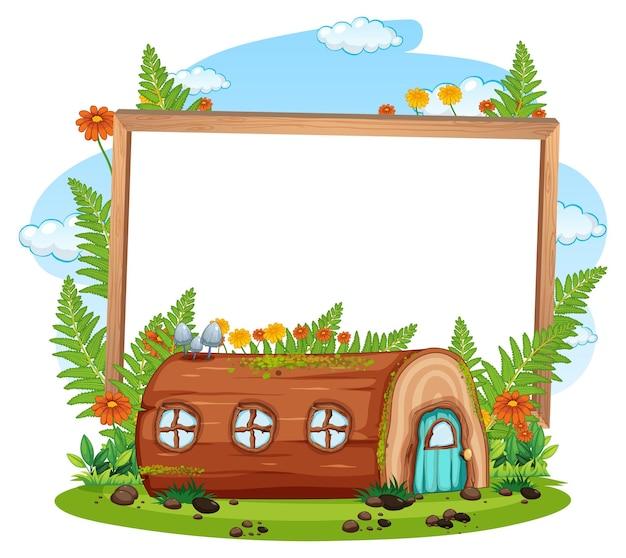 Banner vazio com casa de madeira fantasia