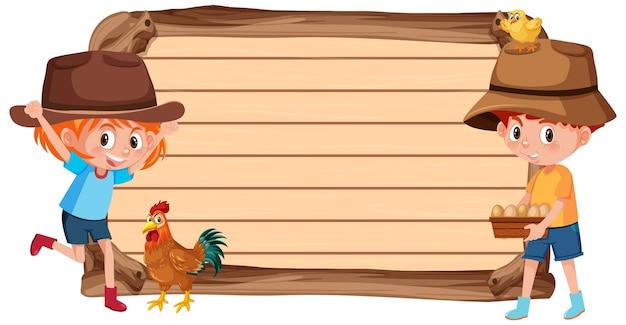 Banner vazio com crianças e fazenda de animais