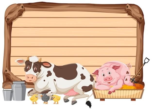 Banner vazio com fazenda de animais