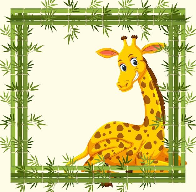 Banner vazio com moldura de bambu e personagem de desenho animado de girafa