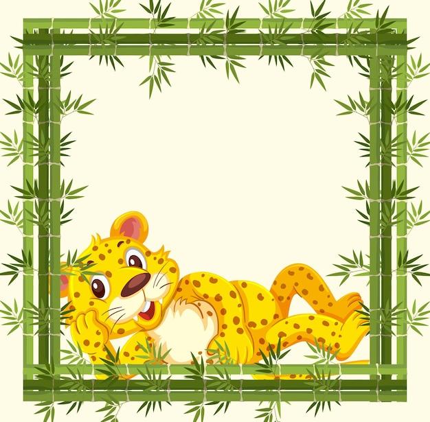 Banner vazio com moldura de bambu e personagem de desenho animado de leopardo