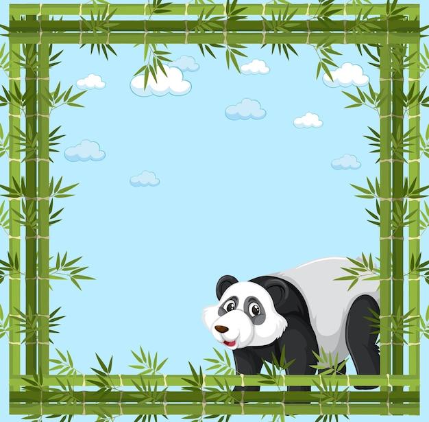 Banner vazio com moldura de bambu e personagem de desenho animado de panda