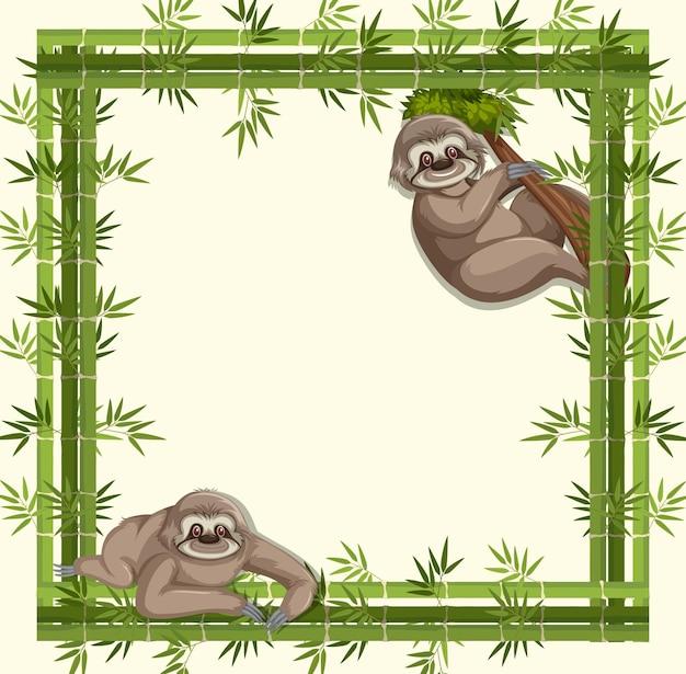 Banner vazio com moldura de bambu e personagem de desenho animado de preguiça