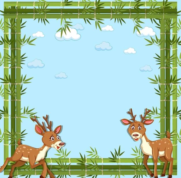 Banner vazio com moldura de bambu e personagem de desenho animado de veado