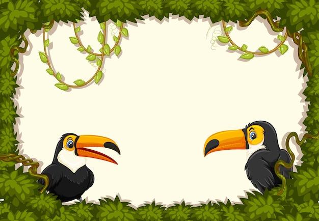 Banner vazio com moldura de folhas e personagem de desenho animado do tucano
