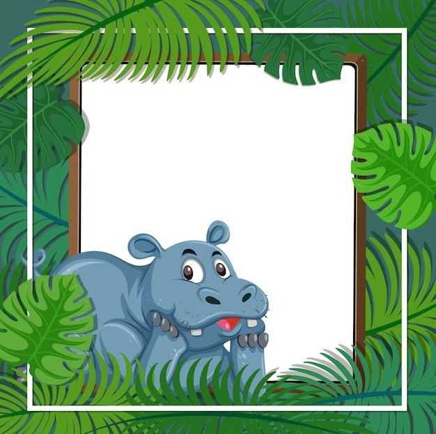 Banner vazio com moldura de folhas tropicais e personagem de desenho animado de hipopótamo