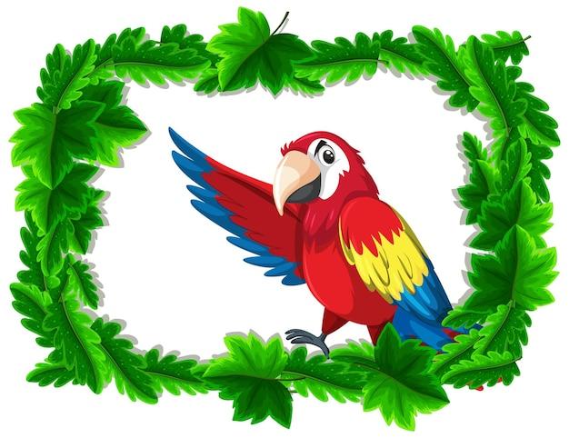 Banner vazio com moldura de folhas tropicais e personagem de desenho animado de pássaro papagaio