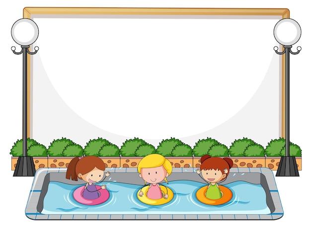 Banner vazio com muitas crianças na piscina