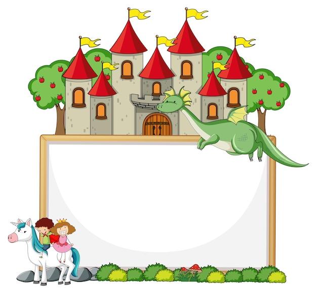 Banner vazio com personagem de desenho animado de conto de fadas e elementos isolados