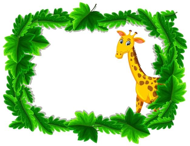 Banner vazio com quadro de folhas tropicais e personagem de desenho animado de girafa