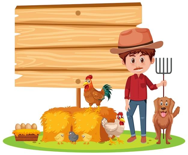 Banner vazio com um fazendeiro com fazenda de animais em fundo branco