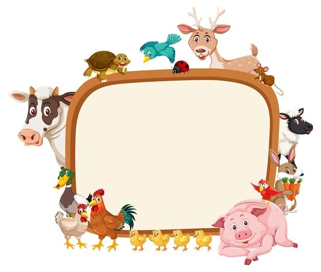 Banner vazio com vários animais de fazenda