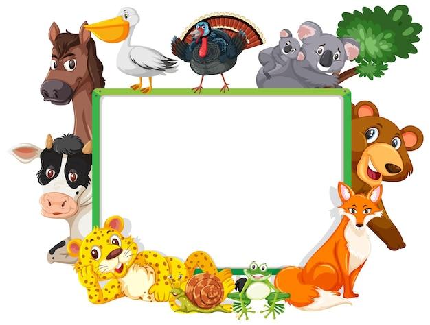 Banner vazio com vários animais selvagens