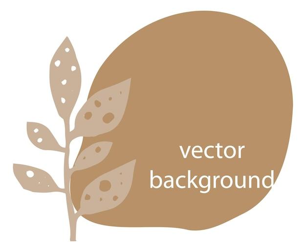 Banner vazio de botânica com folhas e folhagens, forma de borrão isolada, fundo abstrato para copyspace. design de cartão de florista de negócios isolado, convite ou saudação. ilustração vetorial em estilo simples