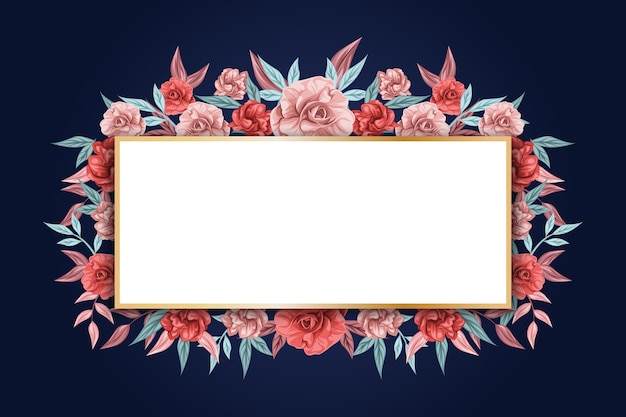 Banner vazio e flores de inverno