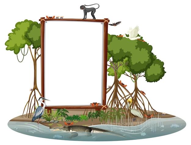 Banner vazio em cena de floresta de mangue com animais selvagens isolados