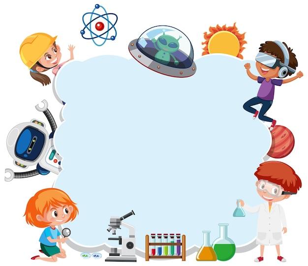 Banner vazio na nuvem com crianças no tema tecnologia