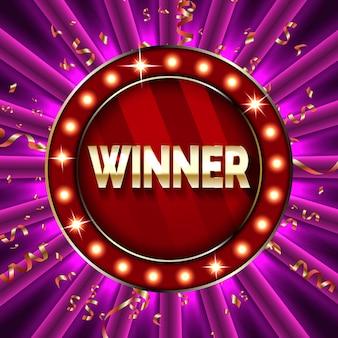 Banner vencedor ganhar parabéns quadro vintage, dourado parabenizando com confetes ouro.