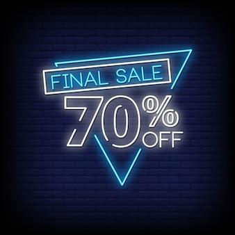 Banner venda final sinal néon estilo texto vector