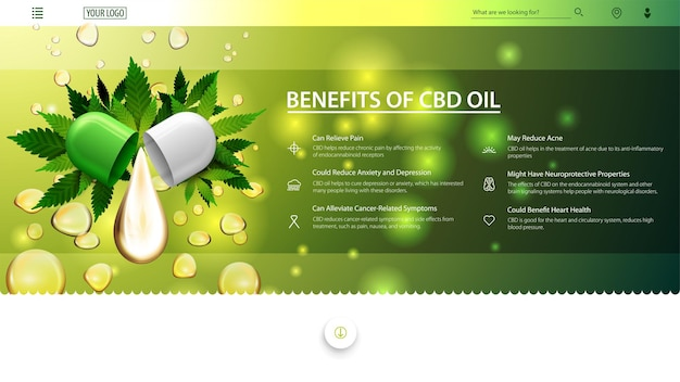 Banner verde e branco da web para site com gota de óleo cbd e folhas verdes de cannabis no fundo de gotas de óleo. usos médicos para óleo cbd, benefícios do uso de óleo cbd.