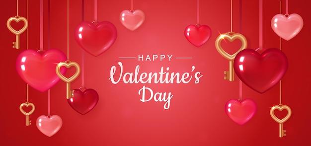Banner vermelho do dia dos namorados com corações Vetor Premium