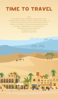 Banner vertical da hora de viajar com ilustração da antiga cidade árabe na paisagem do deserto