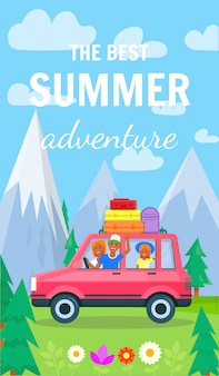 Banner vertical de aventura de verão.