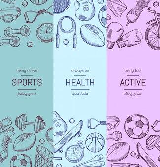 Banner vertical de equipamento desportivo de mão desenhada