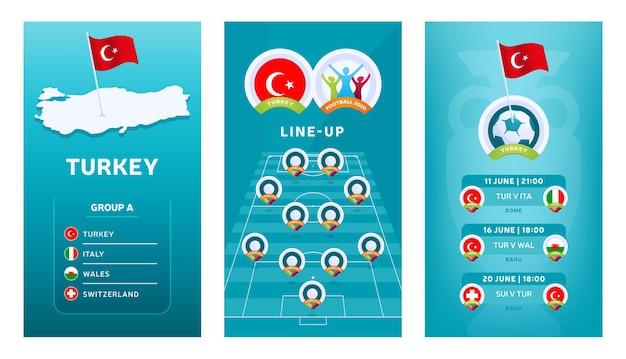 Banner vertical de futebol europeu 2020 definido para mídia social