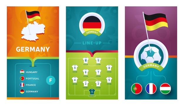 Banner vertical de futebol europeu definido para mídias sociais. banner do grupo da alemanha com mapa isométrico, bandeira, cronograma de partidas e escalação no campo de futebol