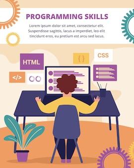 Banner vertical de habilidades de programação. desenvolvimento.