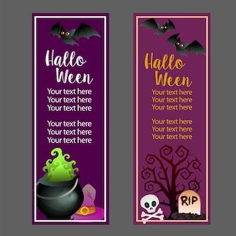 Banner vertical de halloween com sepultura pote mágico