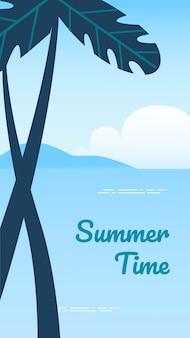 Banner vertical de horário de verão, fundo de praia