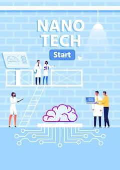 Banner vertical de metáfora de laboratório de pesquisa nano tech