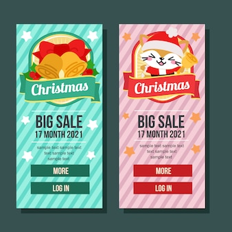 Banner vertical de natal com sinos e gato