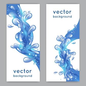 Banner vertical de respingo de água do mar azul conjunto ilustração vetorial isolado