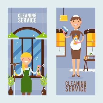 Banner vertical de serviço de limpeza