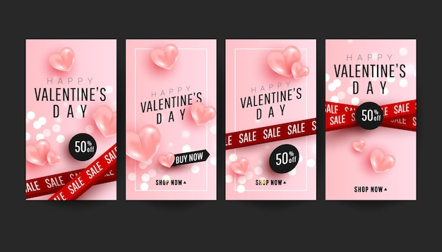 Banner vertical de venda de dia dos namorados editável cravejado de balões de ar realista amor rosa e fitas de venda