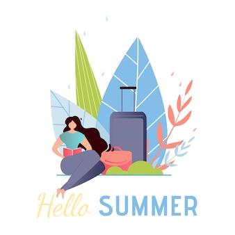 Banner vertical de viagens. olá saudação de verão