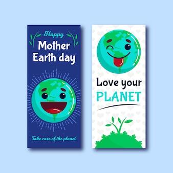 Banner vertical do dia da mãe terra plana