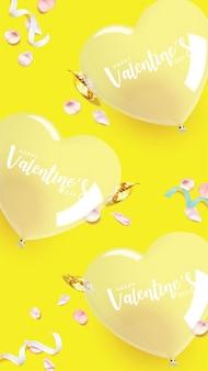 Banner vertical do dia dos namorados. balão transparente em forma de coração com pétalas de rosa rosa, fitas e folhas douradas