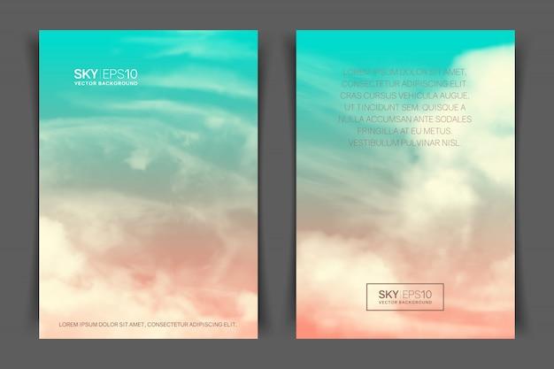 Banner vertical frente e verso com nuvens e céu azul-rosa realista.