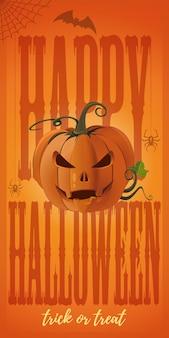 Banner vertical laranja para o halloween com jack-o-lantern.