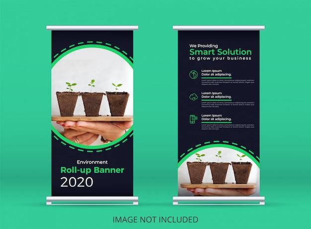 Banner vertical verde ou arregaçar o modelo de banner, ambiente, eco verde